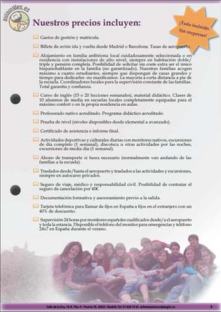 Introduction section of the Aula Ingles brochure for young students 2011