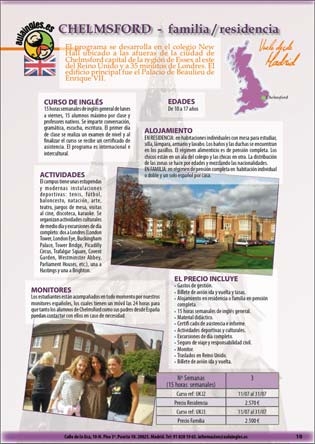 Section of the Aula Ingles brochure for young students 2011